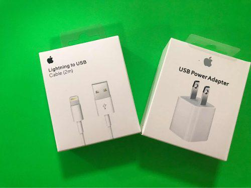 Set Lote Cargador Y Cable 2m 100% Iphone Apple 5 6 7 8