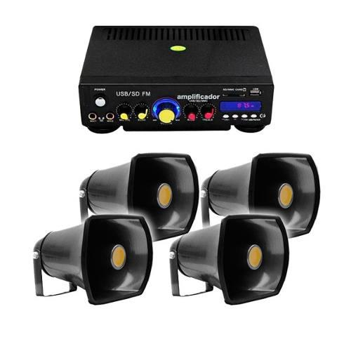 Xa019 Set Perifoneo Amplificador Usb Sd Fm + 4 Trompetas Ext