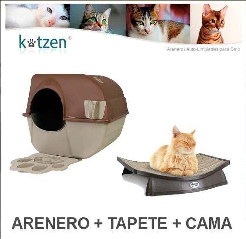Arenero Autolimpiable Grande + Tapete + Cama Gato Omega Paw