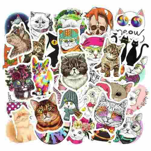 Gatos Kawaii 50 Calcomanias Stickers De Pvc Contra Agua