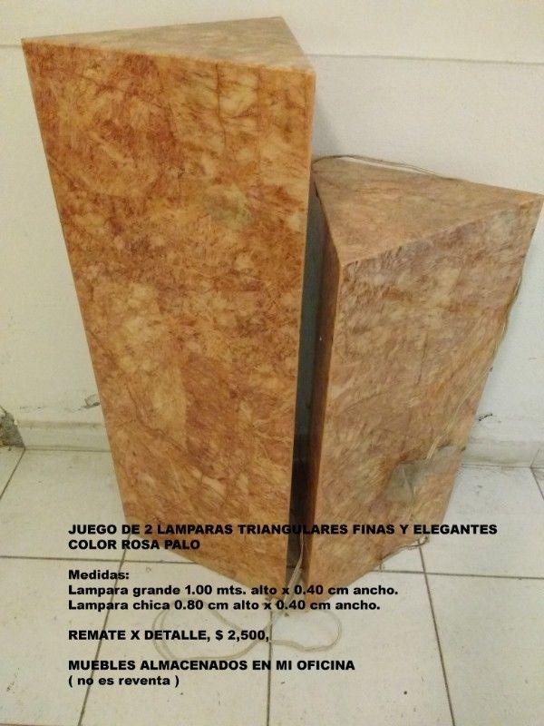 Juego de lamparas triangulares pedestal