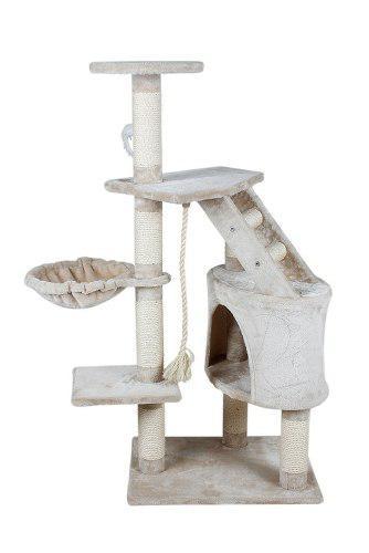 Mueble Ó Arbol Rascador Gato Con Casa Y Hamaca 120 Cm Gatos