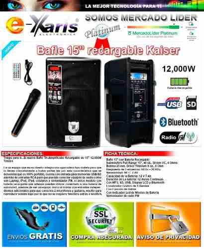 Xa032 Bocina Amplificada Recargable 15 Edicion Premium Ksr !
