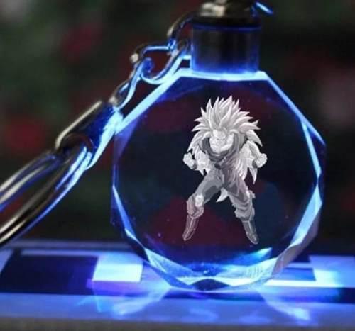 Llavero Goku Fase 3 Dragon Ball Z Super Luz Led De Cristal