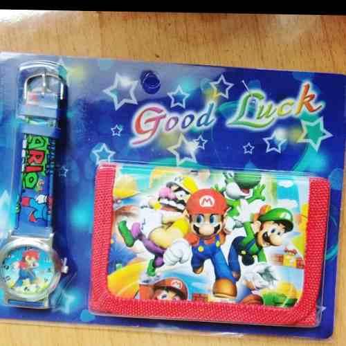 Set Reloj Y Billetera Mario Bros Envío Es Gratis Dhl