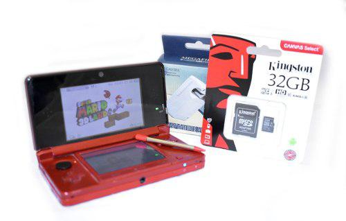 Nintendo 3ds 32gb Rojo Flama +20juegos Consola Portatil