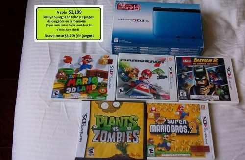 Nintendo 3ds Xl Azul Con Juegos