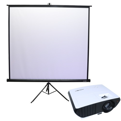 Paquete Proyector Led  Lumens 72w Con Pantalla 70x70 Msi