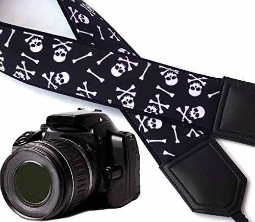 Skull Camera Strap. Modern Dslr / Slr Camera Strap. Black An