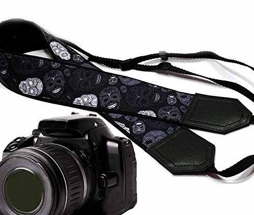 Sugar Skull Camera Strap. Modern Dslr / Slr Camera Strap. Bl