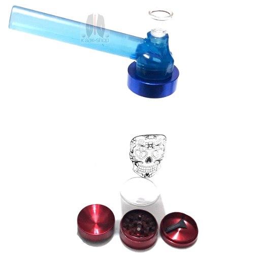 Grinder Concavo 3 Partes + Top Puff De Cristal Pipa De Agua
