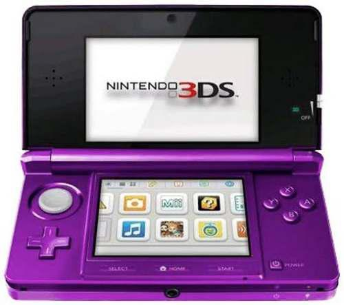 Nintendo 3ds Morado Con 1 Juego Y Multicargador, En Caja Or.