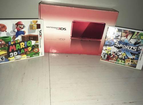 Nintendo 3ds Rojo Con 2 Juegos En Excelentes Condiciones