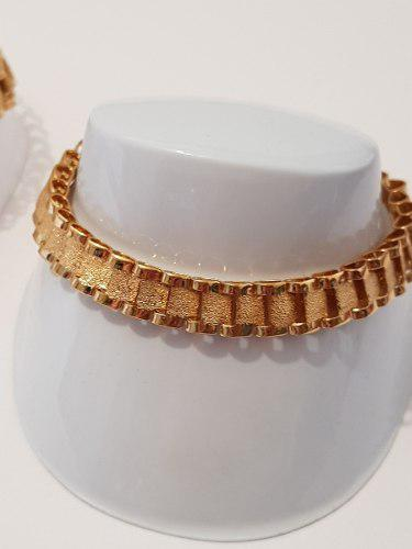 Esclava Tejido Rolex De 20 18 Cm De Oro Lam. Envio Gratis