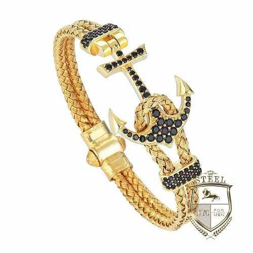 Pulsera Brazalete Ancla Chapa De Oro Diamantes Atolye Stone