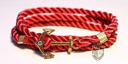 Pulsera Brazalete Ancla Oro Rojo Hombre Caballero