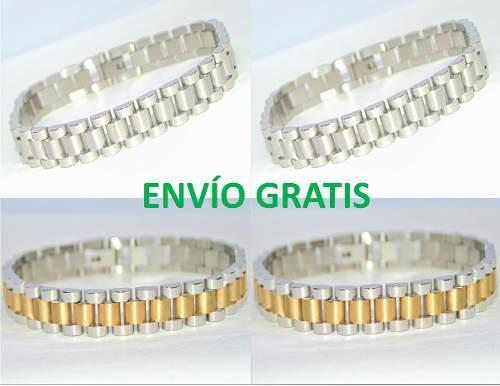 Pulsera Brazalete Rolex Acero Oro Laminado Envío Gratis