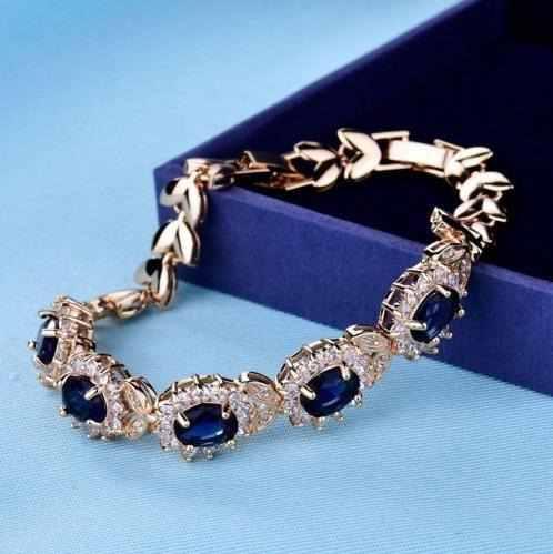 Pulsera Cristal Swarovski Azul Y Oro Laminado 18k