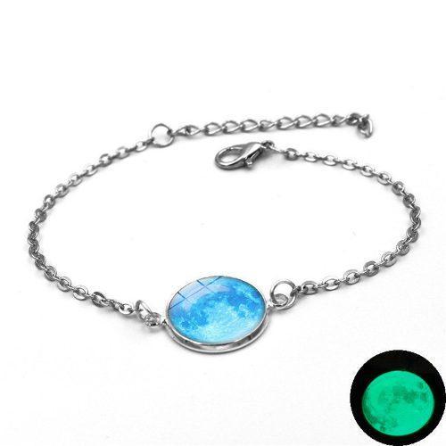 Pulsera De Cadena Luna Llena Azul Brilla En Oscuridad Mujer