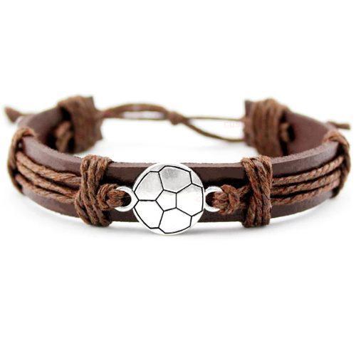 Pulsera De Moda Para Caballero De Cuero Dije Fútbol Soccer