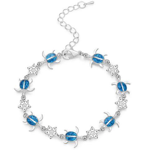 Pulsera De Tortugas Color Azul Opal De Plata Laminada