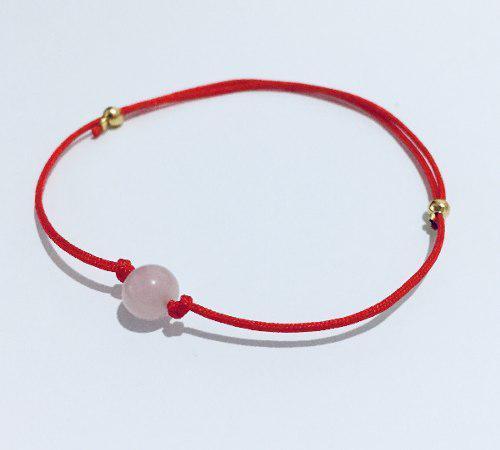 Pulsera Hilo Rojo Y Cuarzo Rosa