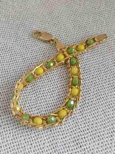 Pulsera Ide De Orunmila En Chapa De Oro Con Cristales