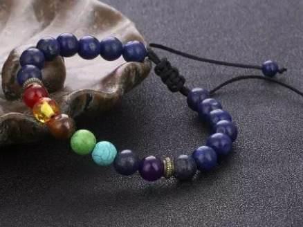 Pulsera Lapis Lazuli 7 Chakras Ajutable Meditacion Energia