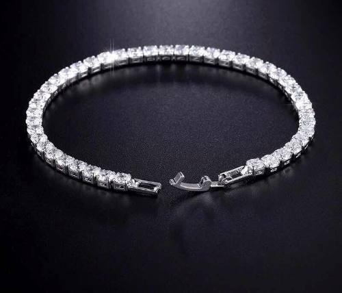 Pulsera Oro Blanco De Zirconias Calidad Diamante De 19cms