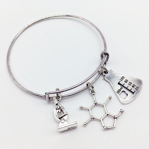 Pulsera Química Molécula Matraz Microscopio Laboratorio