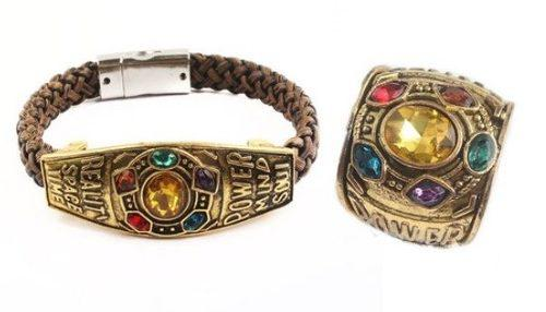 Set Marvel Avengers Infinity War Pulsera Anillo Thanos Gema