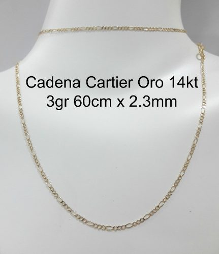 Cadena Oro 14kt Cartier 3gr 60cm X 2.3mm