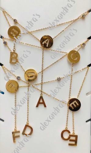 Collar Dije Letras Doble 2 Iniciales Y Cristal Acero Dorado