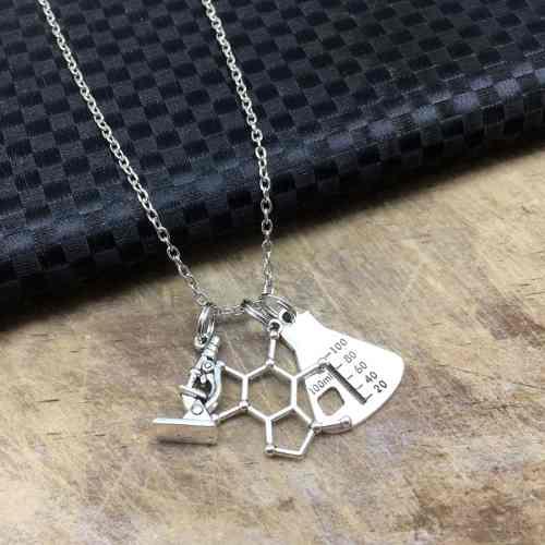 Collar Química Molécula Matraz Collar Laboratorio Ciencia
