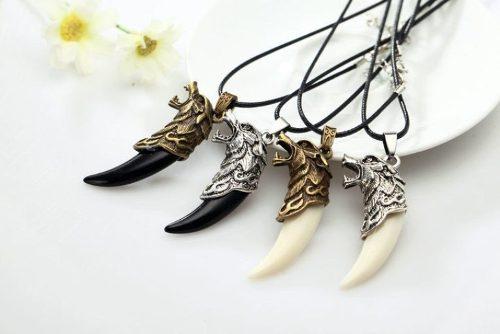 Hermoso Collar Amuleto Dije Colmillo De Lobo Calidad Detalle