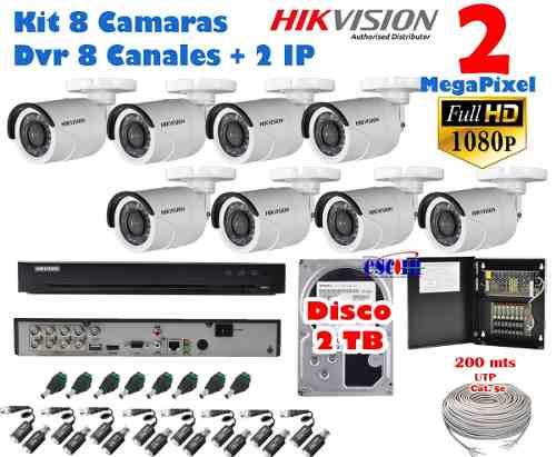 Kit 8 Camaras Hikvision p 2 Mpx Cctv 2 Tb Dvr 8 Ch 3 Mpx