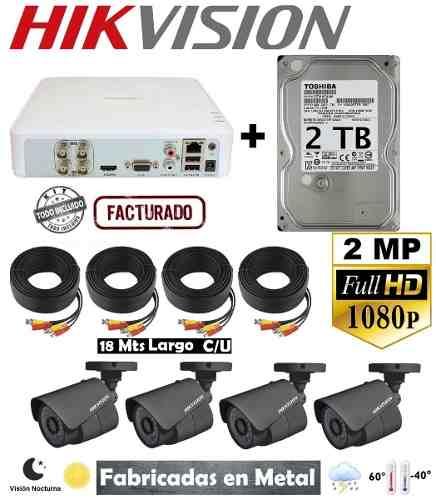 Kit Circuito Cerrado 4 Camaras Hikvision p 2mp Cctv 2 Tb