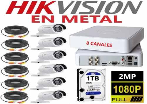Kit Circuito Cerrado 6 Cámaras Hd p / 2mp En Metal 1 Tb