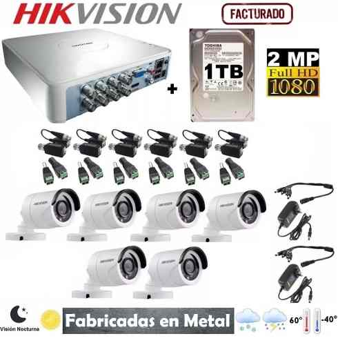 Kit Video Vigilancia 6 Cámaras Hikvision Hd-p 1 Tb
