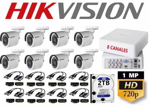Kit Video Vigilancia 8 Cámaras Hikvision Baluns Hd 1mp 2 Tb