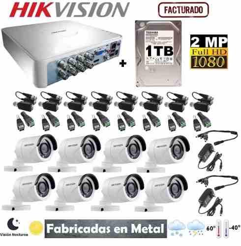 Kit Video Vigilancia 8 Cámaras Hikvision Hd-p 1 Tb