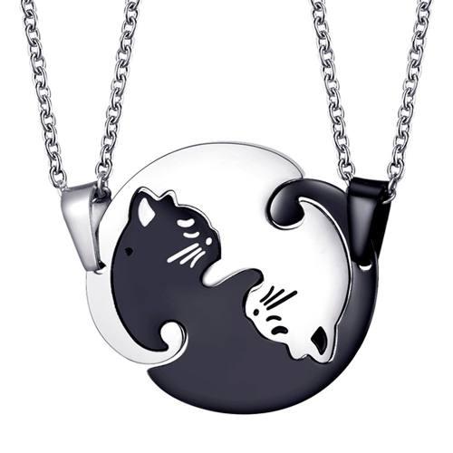 Regalo Collar Yin Yang Gato Amor Pareja Dualidad Unión