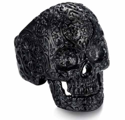 Anillo Calavera Mexicana Cráneo Rockero Biker Hombre