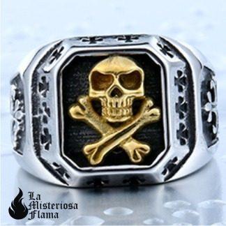 Anillo Calavera Skull And Bones (envío Gratis) Acero Inox