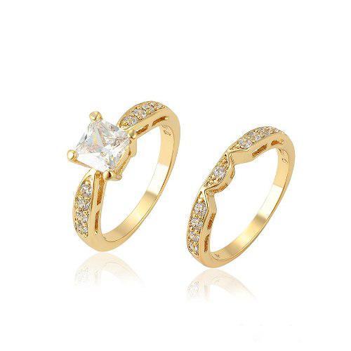 Anillo Compromiso De Oro 14k Lam C/zirconias Corte Diamante
