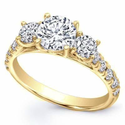 Anillo Compromiso Oro Amarillo 14k Diamante Ruso