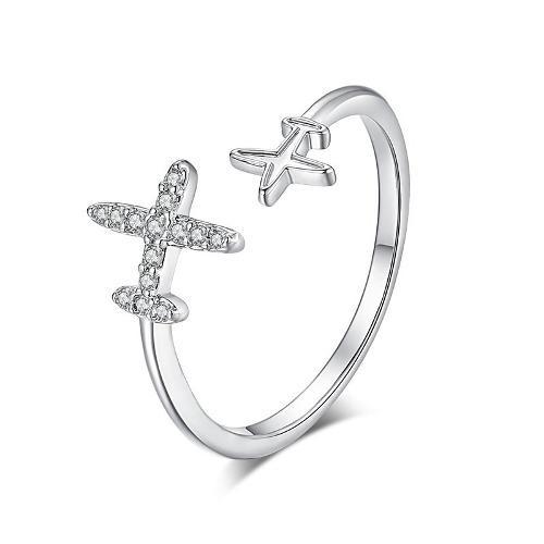 Anillo Con Aviones Cristales Ajustable Diseño Exclusivo