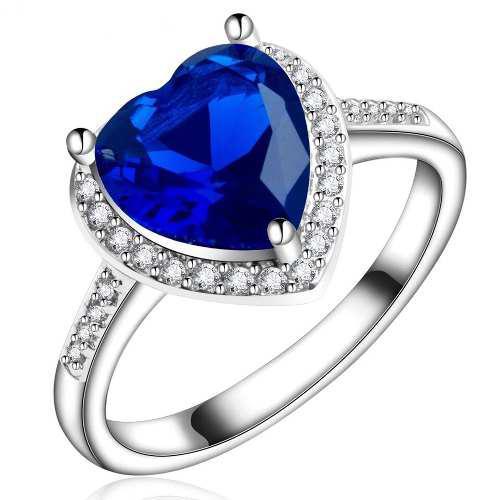 Anillo Corazon Cristal Azul Swarovsk Regalo