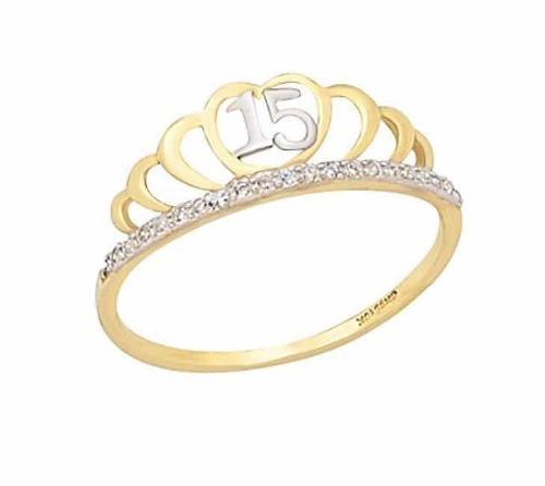 Anillo Corona Xv Años Oro 14 K + Obsequio + Envío