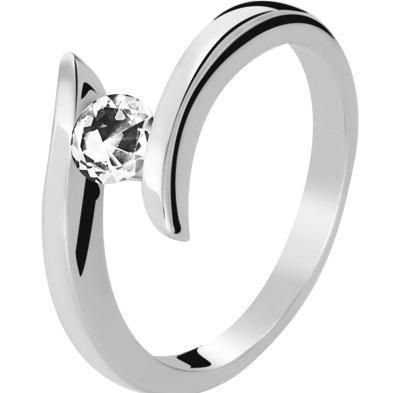 Anillo De Oro De 14k Con Diamante Natural Blanco De 10 Pts.